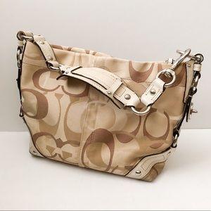Coach tan signature print shoulder bag purse